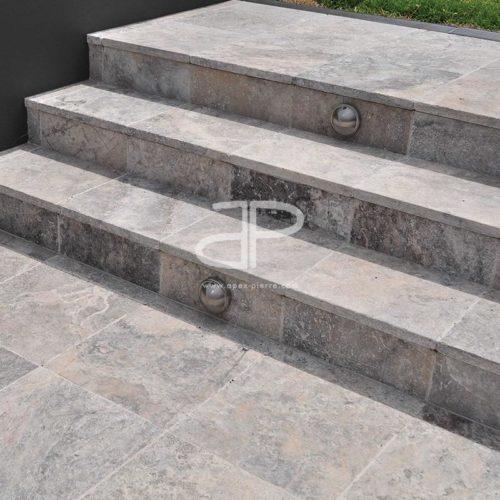 escalier en travertin gris apex pierre