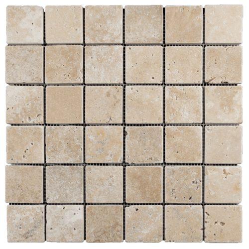 Travertin mosaïque 5x5 1er choix nuancé